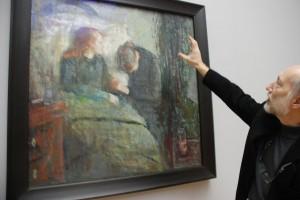 Trond Aslaksby forklarer restaureringsdetaljer, Nasjonalmuseet for kunst 2009, foto Tomas Bagackas