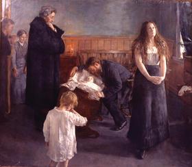 """Hans Heyerdahl, """"Det døende barn"""", 1881, Museé Mandet, Riom, utstilt på Nasjonalmuseet for kunst i forbindelse med Det syke barn utstillingen våren 2009, foto Tomas Bagackas"""