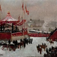 Fritz Thaulows painting of the Royal familys arrival to Kristiania 25. november 1905. Foto: Jan Haug