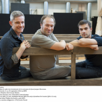 From left: Edwin Crossley-Mercer, JJR at 21.  Rodolphe Briand ,JJR at 66 years, and Jonathan De Ceuser, JJR at 12 years, in the opera JJR - Citizen of Geneva opera, about the life of Jean Jacques Rousseau, premiere 11th September - 24th at Grand Theatre, Geneva. Photo: Carole Parodi, GTG