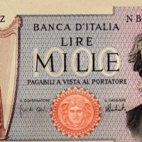 Exposition of Bank notes at the foyer of Teatro San Carlo in Napoli.