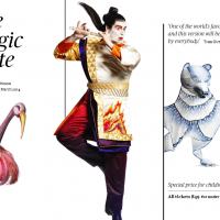 Scetches of customes and the makeup imagined by Julie Taymor for Mozarts The Magic Flute for the opera in Sydney, 10. January -26 March.