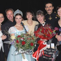 After the premiere of From Siberia to Moscow: Natia Sirbiladze, Frank Andersen, Nino Gogua, Nina Ananiashvili, Dinna Bjørn, Vasil Akhmeteli, Eka Shavliashvili (assistant to choreographer). Photo Georgian State Ballet