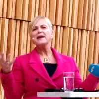 Kulturminister Thorhild Widvey (H), da hun nylig presenterte Kulturbudsjettet for 2015, i Foyeren på Den Norske Opera og Ballett i Bjørvika. foto Henning Høholt