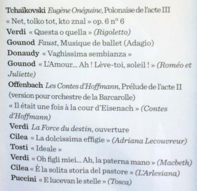 Program for Joseph Calleja and Orchestre National d´Ile-de-France. conductor Andrew Greenwood at Théâtre des Champs Élysées. 19.6.2015. Foto Henning Høholt