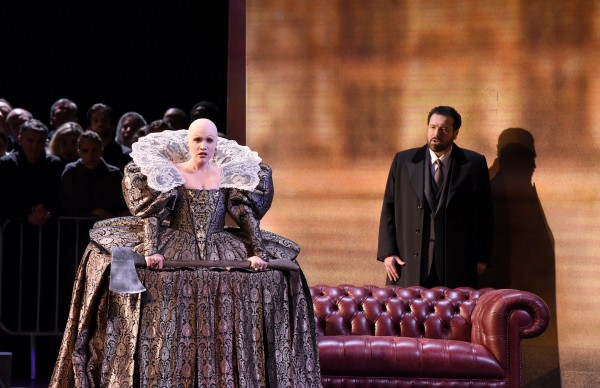 CarmenGiannattasio with the execution ax a RIght Carlo Combara as Talbot. At Maria Stuart at Theatre des Champs Elysees 2015. foto Vincent Pontet