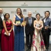 Placido Domingo surrounded by his winner of the 2015 competition. left of mr. Domingo the Norwegian winner of the female 1st. Prize Lise Davidsen. Photo Alaister Muir