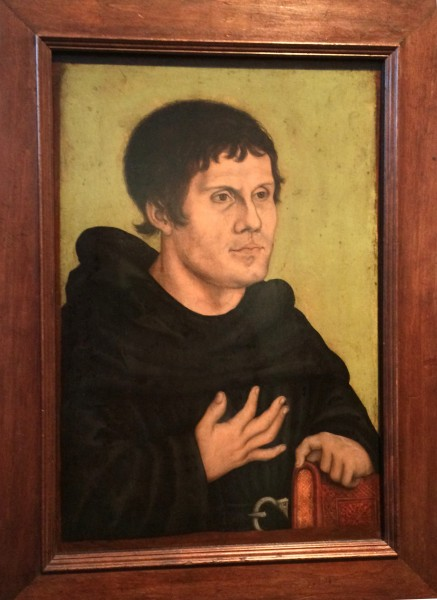 Posthum portrait of Martin Luther as Augoustiner Monk, by the Cranach studio. 1546. At Germanisches National Museum, Nürnberg Foto Henning Høholt