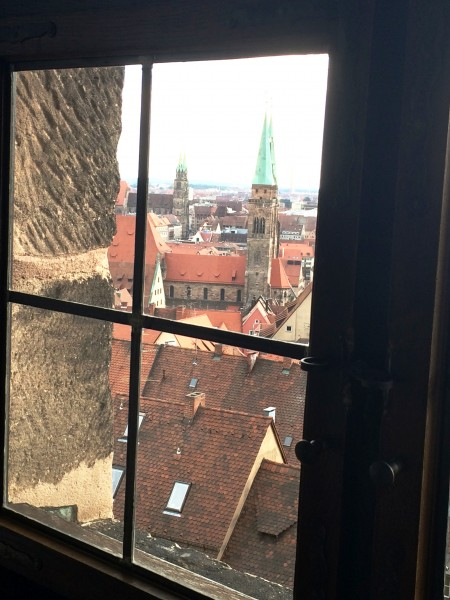 View out from a window in the only keept original part of the Emperor Fortress, Nürnberg, Foto Henning Høholt 2015