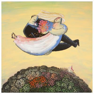 Kunstnerinden Vivian Zahl Olsen lar romantisk et par frukt formede figurer sveve hen over jorden. Hun er no 79.