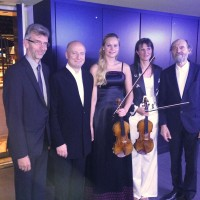 """Arvo Pärt,from  right, Victoria Mullova, Mari Poll,  Paavo Järvi and Erkki-Sven Tuuri, who got his creation """"Sow the WInd"""" performed for the first time, In the frame of this special celebration event. Foto Henning Høholt"""