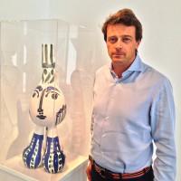 """Frederik Bruun Rasmussen og Picasso. - """"der var en der spurgte om Bjørn Wiinblad hadde blitt inpisrert av Picasso? eller om Picasso hadde blitt inspirert av Bjørn Wiinblad"""".  Foto Henning Høholt"""