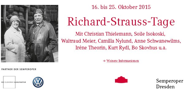 Richard Strauss Days in Dresden. 16-25th October 2015.