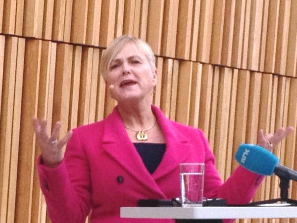 Arkivfoto: Kulturminister Thorhild Widvey (H) da hun presenterer Kulturbudsjettet for 2015 på Operaen, foto Henning Høholt