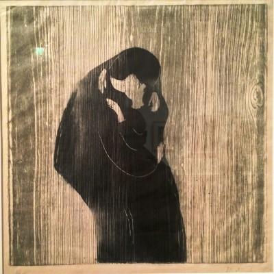 """Edvard Munch: """"Et kyss"""", utstillingens """"oppslagsbilde"""" Foto: Henning Høholt"""