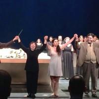 La Traviata, repremiere 22.januar 2016. Applaus, fra venstre Atalla Ayan, Xian Zhang, Aurelia Florian, Yngve Søberg og Thorbjørn Gulbrandsøy. Foto Henning Høholt