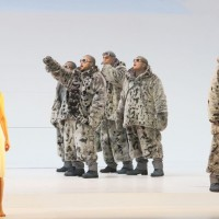 The Roald Amundsen Group, and (left) Mojca Erdmann as Amundsens Landlady. All Photos from the performance Wilfried Hosl.
