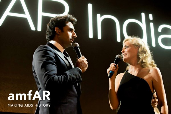 Sharon Stone is promoting Aids-research all over the world, also in India  . Photo: AmfAR.org