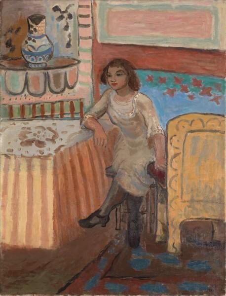 """FRANSKINSPIRERT: """"Piken på Montparnasse"""" er et av to malerier av Johs. Rian, som skal selges hos Blomqvist. FOTO: BLOMQVIST"""