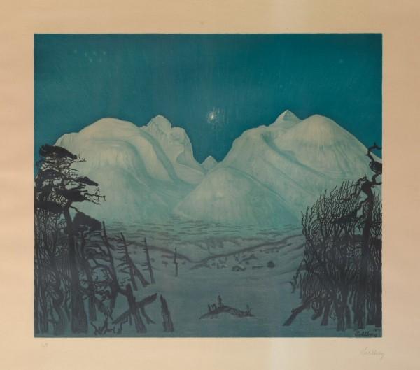 HARALD SOHLBERGS RONDANE: Vinternatt i fjellene, en grafisk versjon av et av våre mest kjente malerier. FOTO: BLOMQVIST