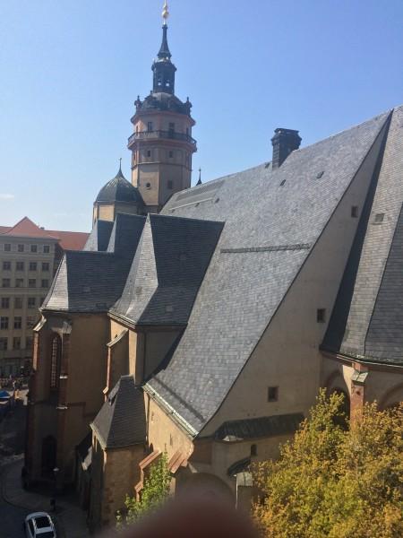 Saint Nicolai Church, seen from Motel One window in 5th floor. Foto Henning Høholt