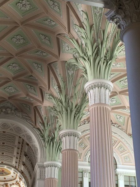 The palm capitals, - a special architectural feature. Delicious color combinations light red and light green. In 1794 the interior was remodeled by German architect Johann Carl Friedrich Dauthe in the neoclassical style.