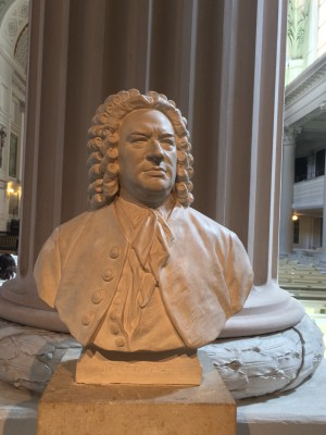 Johann Sebastian Bach - bust, in the church where his Johannes Passion was performed for the first time. in 1756. Foto Henning Høholt