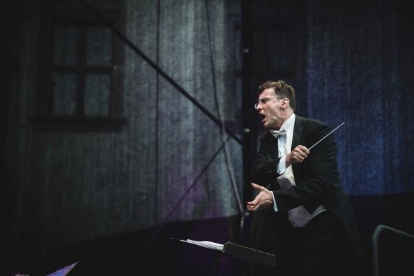 Modestas Piernas in full action. at the Midsummer Opera concert.