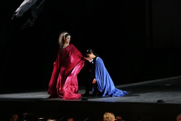 Leonor Bonilla (left) as Francesca di Rimini by Mercadente in Valle d´Itria.
