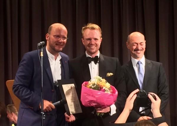 MORGAN PEARSE, baryton, winner of the Cesti Singing Competition in Innsbruck 2016, between Sebastian Schwarz,  jury leader (left), and Alessandro de Marchi, Aristic leader for Innsbruck Festwochen. Foto Henning Høholt