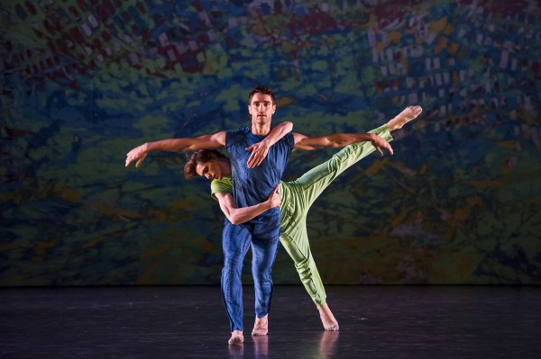 """""""On the other side"""" The highlight of the evenings program was the long feeling full pas de deus between the two male dancers Morgan Lugo and. Adrien Dantou. Photo: Laurent Philippe"""