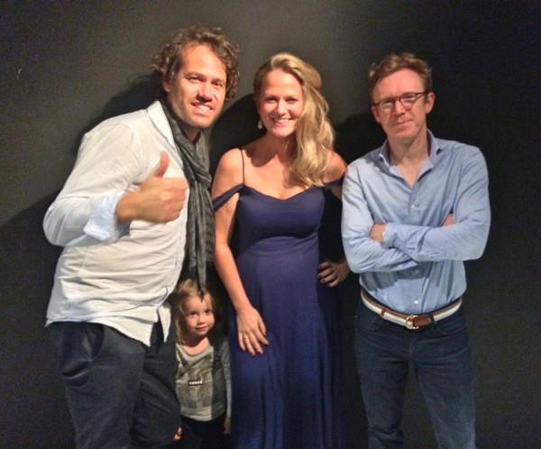 Eivind Gullberg Jensen, Alma, Mari eriksmoen og Daniel Harding etter Maris konsert i Philharmonie de Paris. Foto Henning Høholt