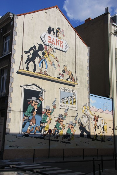 Lucky Luke Mural Pictures of the city of Brussels.
