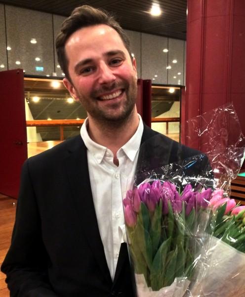 Jan Erik Mikalsen, etter konserten, hvor hans verk  - Saan ble urfremført, som en del av Norsk Komponistforenings 100 års jubileum. Foto Henning Høholt