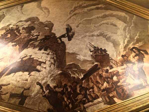 Ceiling painting in Chronicle hall. This motive depicts the deference pf the tower of Adrianopolis.