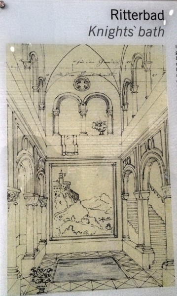 Knights bath, sketch, Neuschwanstein