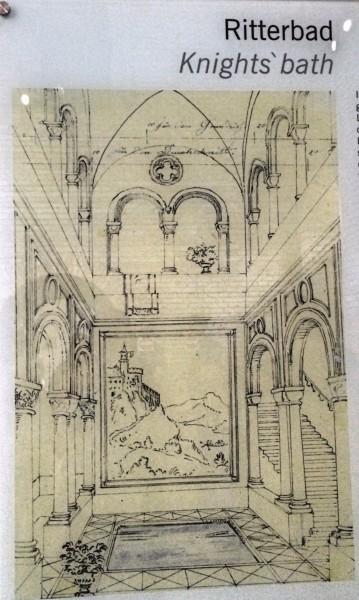 Knights bath, sketch, Neuschwanstein