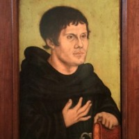 Reformation: In Year 2017 it is 500 years since Martin Luther hang up his 95 betydningsfulle teser at the church door in Wittenberg. - Posthum portrait of Martin Luther as Augoustiner Monk by the Cranach studio. 1546. At Germanisches National Museum Nürnberg. Foto: Henning Høholt.