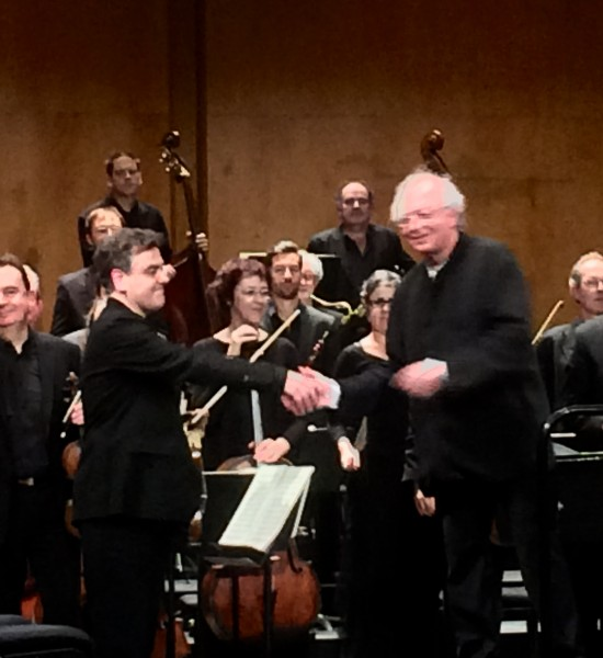 Orchestre des Champs-Élysées with Philippe Heerenweghe and concertmaster Alessandro Moccia (?) (left), receiving applaus 14th. March, celebrating its 25 years Jubilee with all Beethovens 9 symphonies.