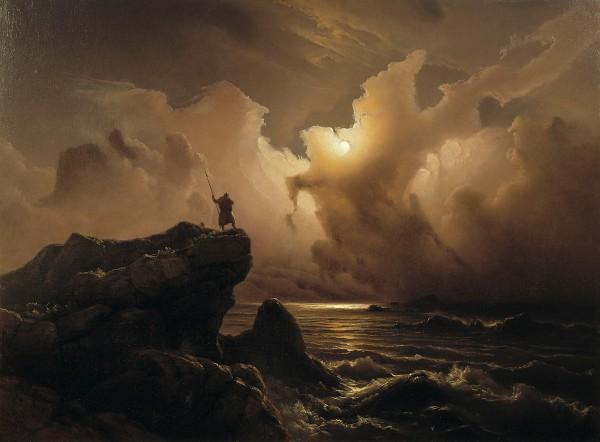 """Knut Baade (1808-1879) """"Fantasibilde fra den norske sagatid"""""""