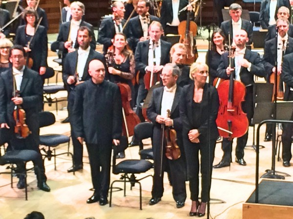From left: Christoph Eschenbach, Luc Héry concertmaster and Sofi Jeannin, choire chief
