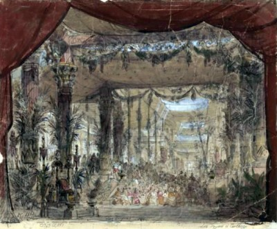 Set design for the throne room (1863). Design by Chaperon - Gallica.