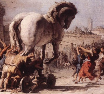 Detail from The Procession of the Trojan Horse in Troy by Domenico Tiepolo (1773).