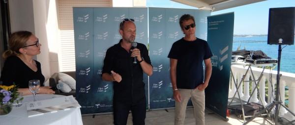 Writer Harald Rosenløv Eeg (left) and director Marius Holst present «Betrayed» in Cannes. Photo Liv Baden