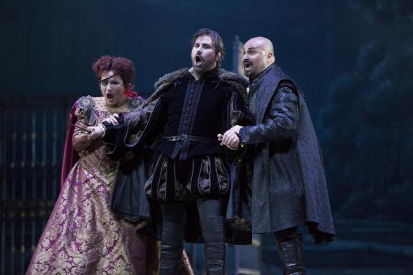 Gubanova, Cavalletti and Arnica as Eboli, Posa, Don Carlos.