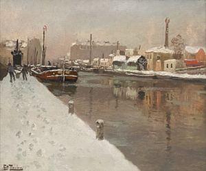 Vinter i havnen, trolig tidlig 1900-tallet Olje på lerret, 46x56 cm  Signert nede til venstre: Frits Thaulow Maleriet har utstillingsstempel fra Paris bak på blindrammen. Vurdering 280 000 - 300 000 NOK