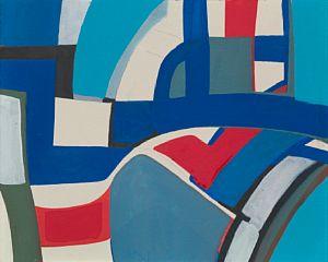 "JAKOB WEIDEMANN ""Blått landskap"" 1956 Olje på plate, 33x41 cm Signert nede til venstre: Weidemann 56"