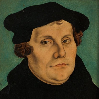Martin Luther, German; 10 November 1483 – 18 February 1546), O.S.A., was a German professor of theology, composer, priest, monk, and a seminal figure in the Protestant Reformation.  - Cranach painting from 1529.