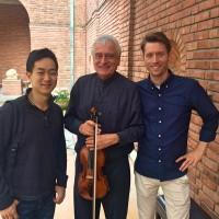 fra venstre Christian Mul, ung cellist fra Sydney, Ole Bøhn, og den unge talentfulle norske komponisten Anders Torgunrud Røshol..
