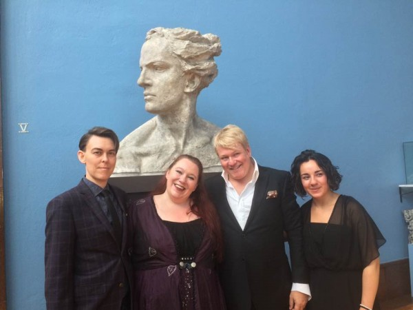 Operagalla to day in Vigeland museum, from left Adrian Angelico, mezzosoprano, Gørill Songvoll, sopran, Thomas Ruud, tenor and Dorina Komani, piano. Foto Henning Høholt.